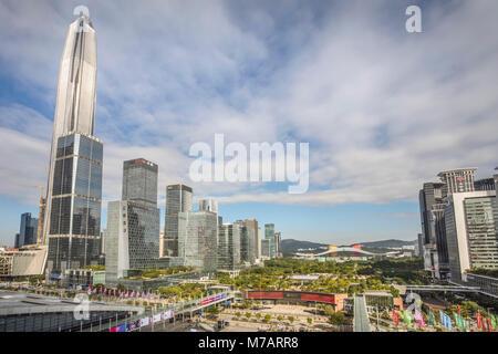 China, Shenzhen City, Shenzhen Pingan  Tower and Civic Center - Stock Photo