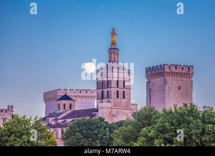 France, Provence region, Avignon city, the Popes Palace skyline with the moon, W.H., - Stock Photo