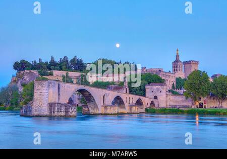France, Provence region, Avignon city, the Popes Palace ,St. Benezet bridge, Rhone river at moonlight - Stock Photo