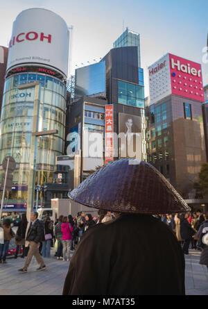 Japan, Tokyo City, Ginza District, Monk - Stock Photo