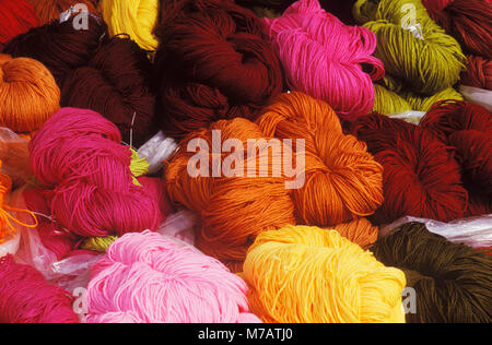 Close-up of wool yarns - Stock Photo