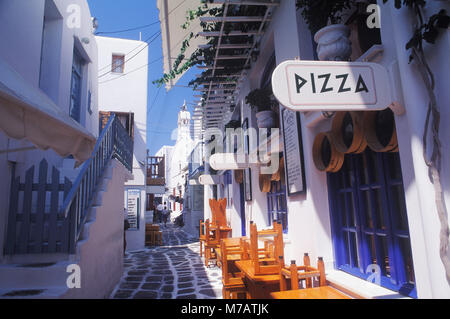 Empty chairs and tables at a sidewalk cafe - Stock Photo