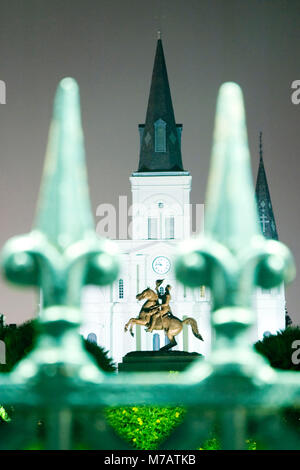 Statue in front of a cathedral, St. Louis Cathedral, Jackson Square, New Orleans, Louisiana, USA - Stock Photo