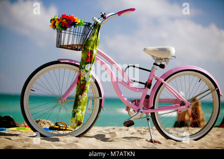 Close-up of a bicycle on the beach, South Beach, Miami, Florida, USA - Stock Photo