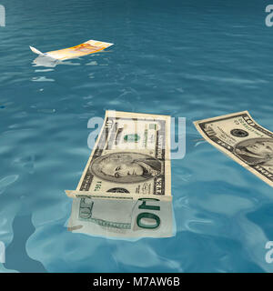 American and Euro bank notes floating on water - Stock Photo