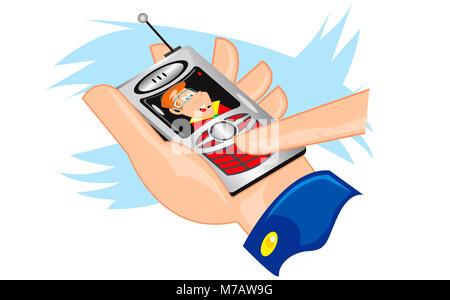 Close-up of a person's hand operating a mobile phone - Stock Photo