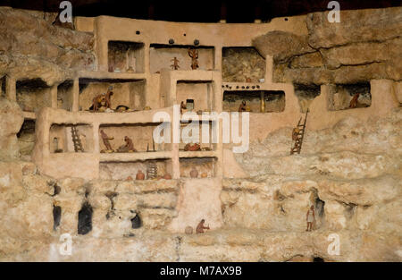 Interiors of cliff dwellings, Montezuma Castle, Montezuma Castle National Monument, Arizona, USA - Stock Photo
