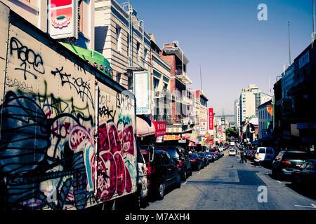 Vehicles parked at the roadside, Chinatown, San Francisco, California, USA - Stock Photo