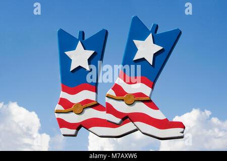 Close-up of a pair of American flag shoes, Scottsdale, Phoenix, Maricopa County, Arizona, USA - Stock Photo