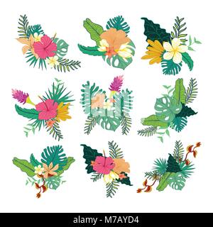 Various Hand Drawn Tropical Flower Foliage Composite Vector Symbol Graphic Design Collection Set - Stock Photo