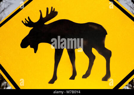 Close-up of a moose crossing sign, Yellowstone National Park, Wyoming, USA - Stock Photo