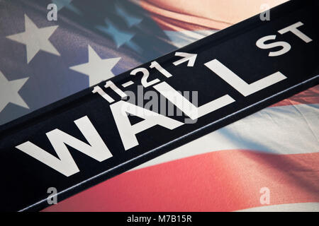 Street name sign superimposed on an American flag, Wall Street, Manhattan, New York City, New York State, USA - Stock Photo