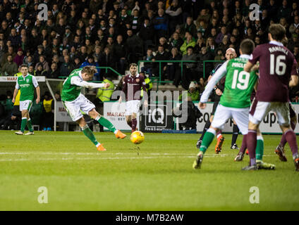 Edinburgh, UK. 9th Mar, 2018. Scottish Premiereship, Hibernian v Heart of Midlthian, Edinburgh, Midlothian, UK. - Stock Photo
