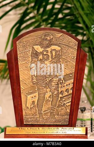 Atlantic City, NJ, USA. 8th Mar, 2018. On display was The Chuck Bednarik Award for college football's top defensive - Stock Photo