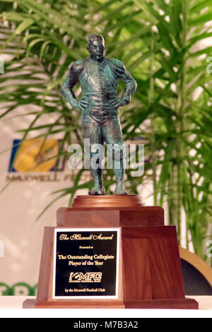 Atlantic City, NJ, USA. 8th Mar, 2018. On display was The Maxwell Award for college football's top player won by - Stock Photo