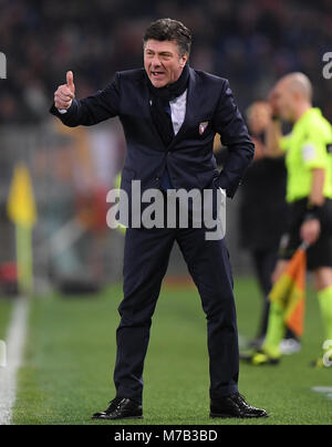 Rome, Italy. 9th Mar, 2018. Torino's head coach Walter Mazzarri gestures during a Serie A soccer match between Roma - Stock Photo