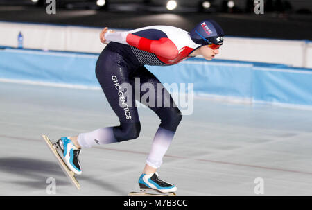 Amsterdam, Netherlands. 9th Mar, 2018. Martina Sablikova of Czech Republic competes during the ladies' 3000m event - Stock Photo