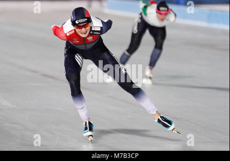 Amsterdam, Netherlands. 9th Mar, 2018. Martina Sablikova (L) of Czech Republic competes during the ladies' 3000m - Stock Photo