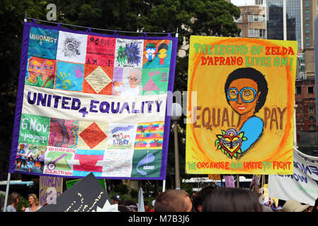 Sydney, Australia. 10th March 2018. Banners for equality and equal pay at the Sydney International Women's Day March - Stock Photo