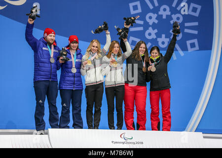 Pyeongchang, South Korea. 10th Mar, 2018. March 10th Pyeongchang - Victory ceremony Women's downhill. Credit: Marco - Stock Photo
