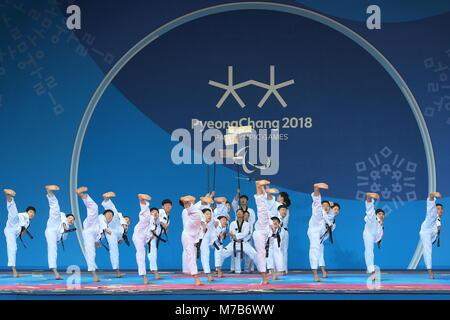 Pyeongchang, South Korea. 10th Mar, 2018. PYEONGCHANG, SOUTH KOREA - MARCH 10, 2018: A martial arts show before - Stock Photo