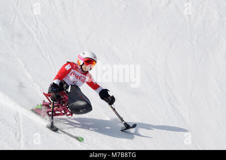 Pyeongchang, South Korea. 10th Mar, 2018. Momoka Muraoka (JPN) Alpine Skiing : Women's Downhill Sitting at Jeongseon - Stock Photo