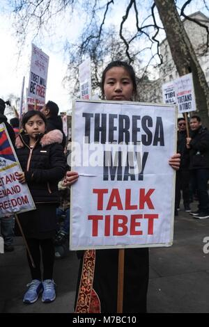 London, UK. 10th March 2018: Hundreds of protesters  gather opposite Downing Street and call on the British government - Stock Photo