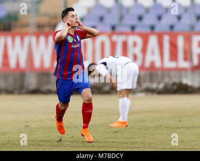 Budapest, Hungary. 10th March, 2018. Zsombor Berecz of Vasas FC celebrates his goal during the Hungarian OTP Bank - Stock Photo