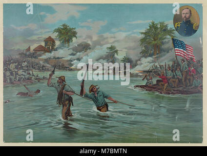 Col. Funston and 20th Kansas volunteers crossing the river at Calumpit, April 26th 1899 - A. Hencke '99. LCCN2004669659 - Stock Photo