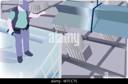 High angle view of an architect standing on top of a building - Stock Photo