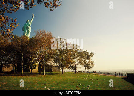Statue behind trees, Statue Of Liberty, New York City, New York State, USA - Stock Photo