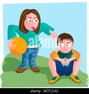 Mother holding a ball and scolding her son - Stock Photo
