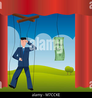 Puppet of a businessman and a dollar bill - Stock Photo