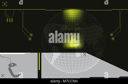 Computer mouse near a globe - Stock Photo