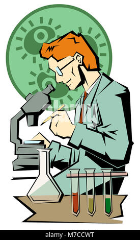Side profile of a scientist working on a microscope - Stock Photo