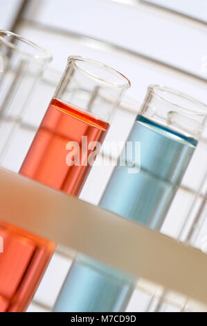 Close-up of chemicals in test tubes - Stock Photo