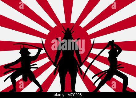 silhouette samurai on rising sun japan flag - Stock Photo