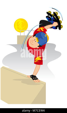 Portrait of a boy performing stunts on roller skates - Stock Photo