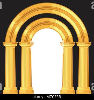 Doric realistic antique greek arch with columns - Stock Photo