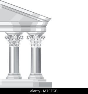 Corinthian realistic antique greek temple with columns - Stock Photo