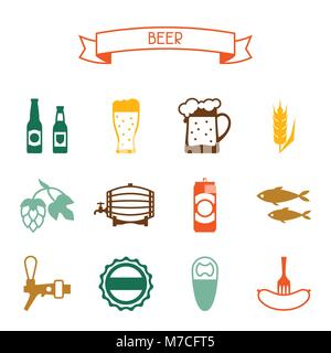 Beer icon and objects set for design - Stock Photo