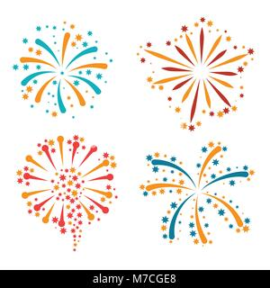 Set of abstract colorful fireworks and salute - Stock Photo