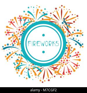Background with abstract fireworks and salute - Stock Photo