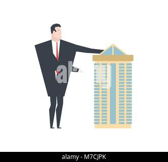 Realtor shows House. office building for sale. Vector illustration - Stock Photo