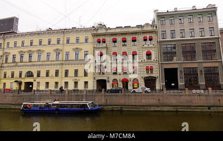 Saint Petersburg, Russia - Oct 10, 2016. Many old buildings located on riverbank in Saint Petersburg, Russia. Much - Stock Photo
