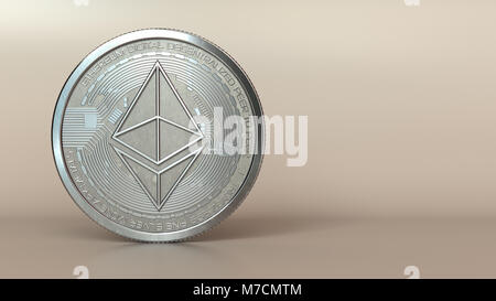 3d illustration of ethereum silver coin - Stock Photo