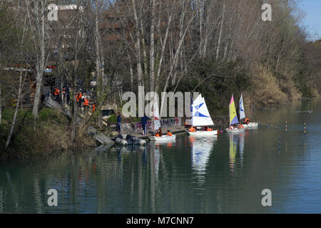 Sailing practice for young people on the river Lez: Montpellier Canoe-Kayak. House Lez, Montpellier France - Stock Photo