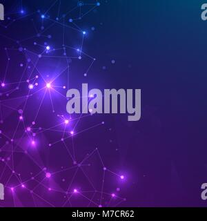 Technology mesh with polygonal shapes on dark blue and purple background. Design digital technology concept. Chaotic web plexus structure. Abstract fu