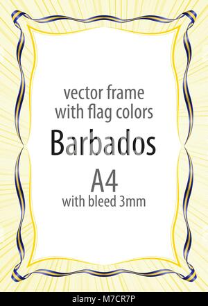 Frame and border of ribbon with the colors of the Barbados flag - Stock Photo