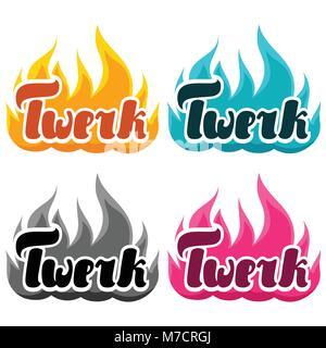 Burning word twerk illustration for dancing studio - Stock Photo